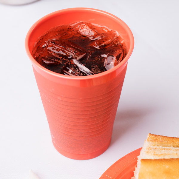 Creative Converting 28314671 12 oz. Coral Orange Plastic Cup - 240/Case Main Image 3