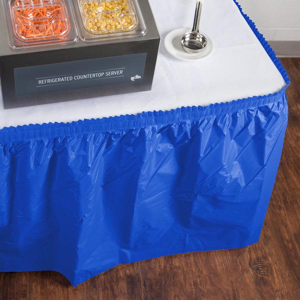 "Creative Converting 743147 14' x 29"" Cobalt Blue Plastic Table Skirt"