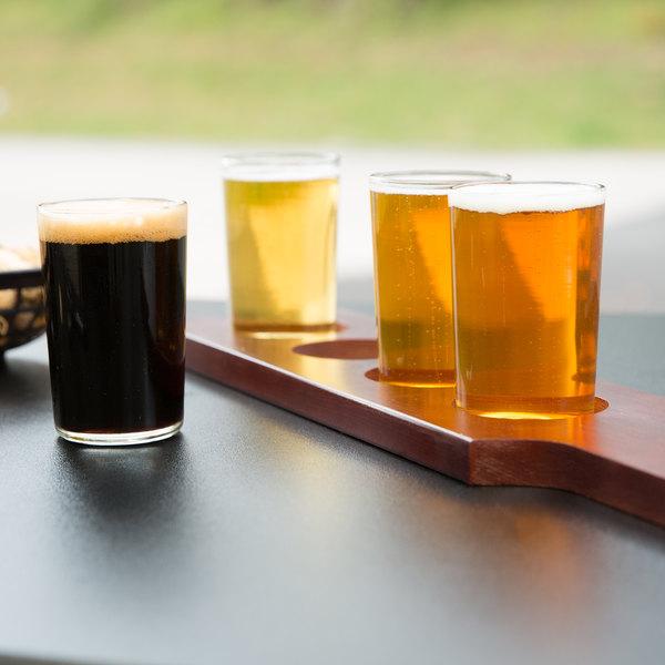 libbey craft brews beer flight set of 4 with wood beer flight paddle