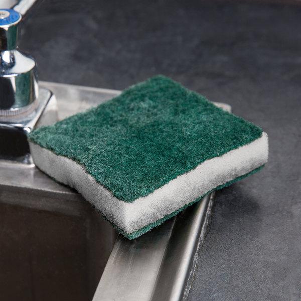 """Scrubble By ACS 24-005B 3 1/2"""" x 3 1/2"""" Green Tough-Scour Nylon Soap Pad"""