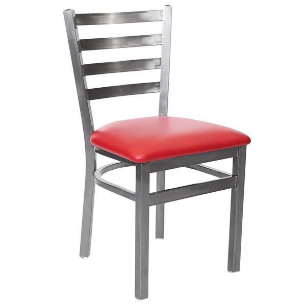 """BFM Seating 2160CRDV-CL Lima Steel Side Chair with 2"""" Red Vinyl Seat and Clear Coat Frame Main Image 1"""