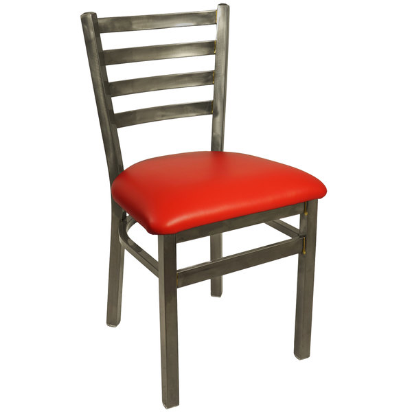 """BFM Seating 2160CRDV-CL Lima Steel Side Chair with 2"""" Red Vinyl Seat and Clear Coat Frame"""