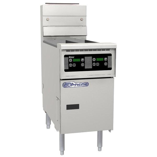 Pitco SSH55TR-D Solofilter Solstice Supreme Liquid Propane 20-25 lb. Split Pot Floor Fryer with Digital Controls - 100,000 BTU Main Image 1