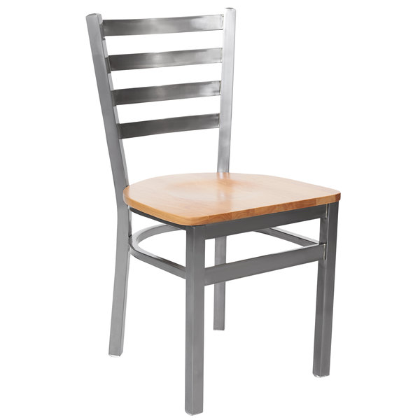 BFM Seating 2160CNTW-CL Lima Steel Side Chair with Natural Wooden Seat and Clear Coat Frame Main Image 1