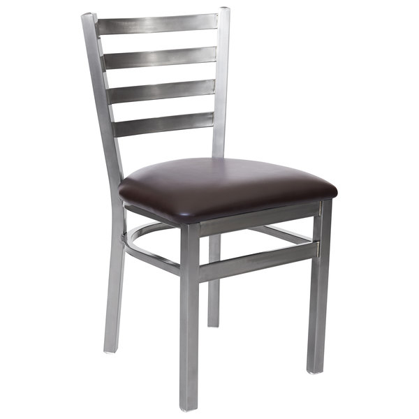 """BFM Seating 2160CDBV-CL Lima Steel Side Chair with 2"""" Dark Brown Vinyl Seat and Clear Coat Frame Main Image 1"""