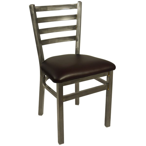"""BFM Seating 2160CDBV-CL Lima Steel Side Chair with 2"""" Dark Brown Vinyl Seat and Clear Coat Frame"""