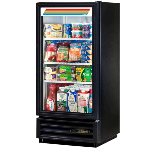 True GDM-10-HC-LD Black Glass Door Refrigerated Merchandiser with LED Lighting - 10 cu. ft.