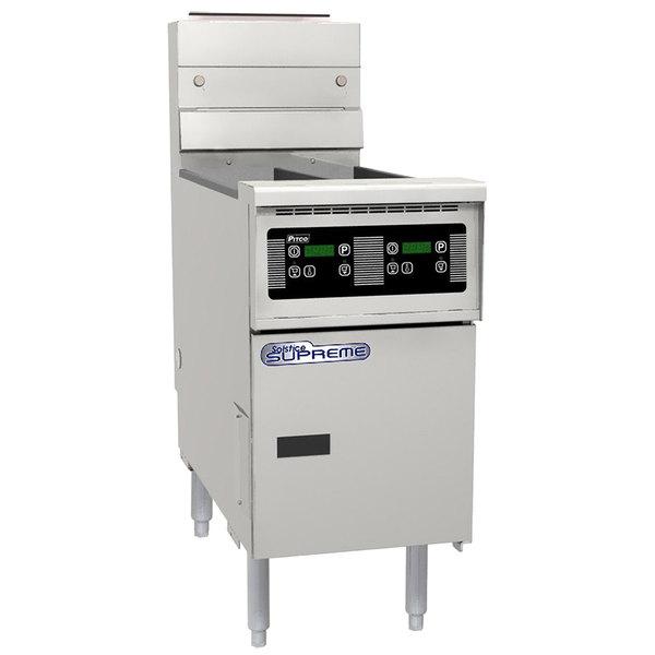 Pitco SSH55TR-D Solofilter Solstice Supreme Natural Gas 20-25 lb. Split Pot Floor Fryer with Digital Controls - 100,000 BTU