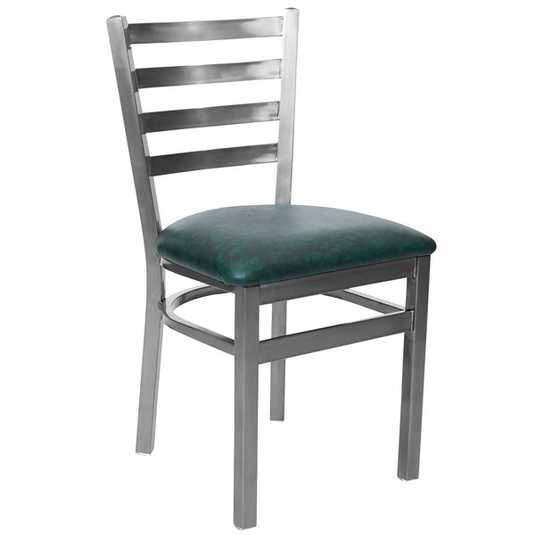 """BFM Seating 2160CGNV-CL Lima Steel Side Chair with 2"""" Green Vinyl Seat and Clear Coat Frame Main Image 1"""