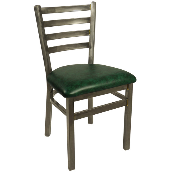 "BFM Seating 2160CGNV-CL Lima Steel Side Chair with 2"" Green Vinyl Seat and Clear Coat Frame"