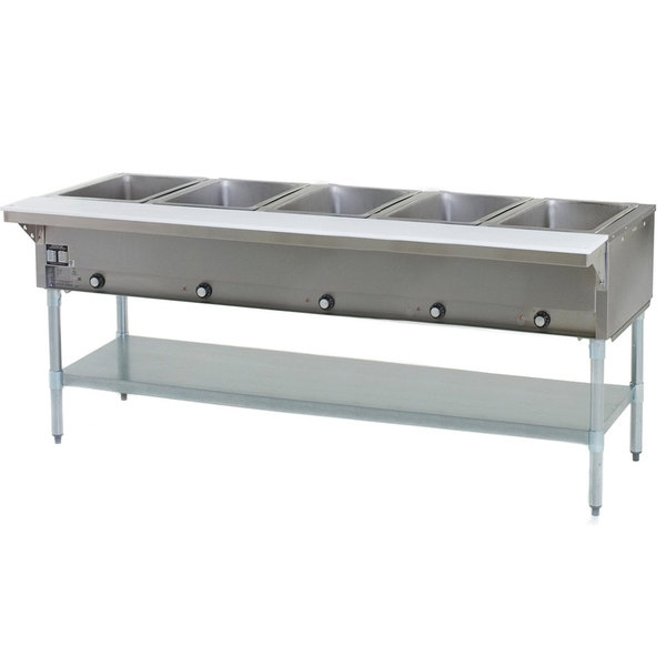 Eagle Group SHT5 Natural Gas Steam Table Five Pan - All Stainless Steel - Open Well