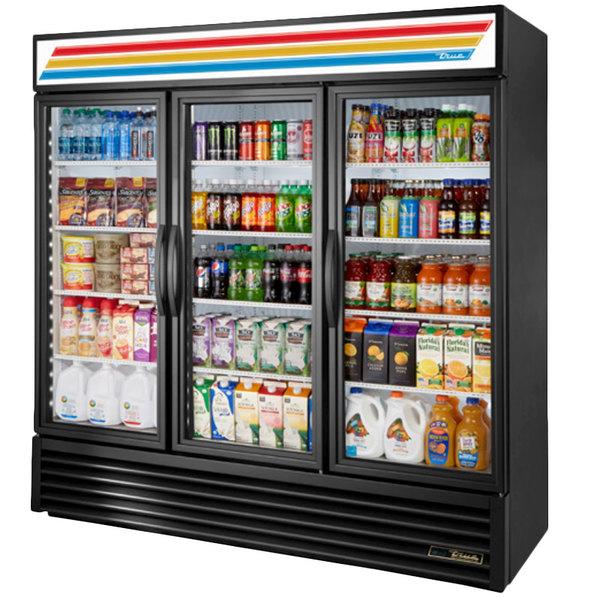 True GDM-72-HC~TSL01 Black Glass Door Refrigerated Merchandiser with LED Lighting