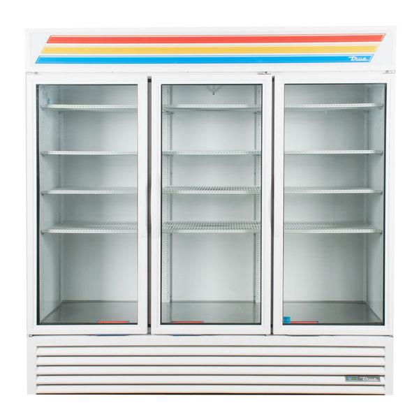 True GDM-72-HC~TSL01 White Glass Door Refrigerated Merchandiser with LED Lighting