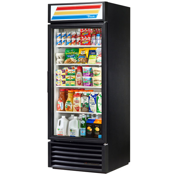 True GDM-26-HC-LD Black Glass Door Refrigerated Merchandiser with LED Lighting