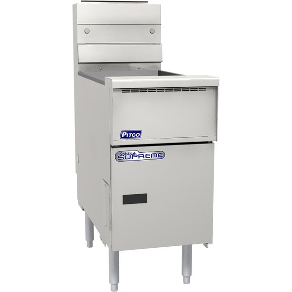 """Pitco® SSH75R-VS7 Solofilter Solstice Supreme Natural Gas 75 lb. Floor Fryer with 7"""" Touchscreen Controls - 125,000 BTU Main Image 1"""