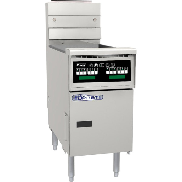 Pitco® SSH60-C Solofilter Solstice Supreme Natural Gas 50-60 lb. Floor Fryer with Intellifry Computer Controls - 80,000 BTU Main Image 1