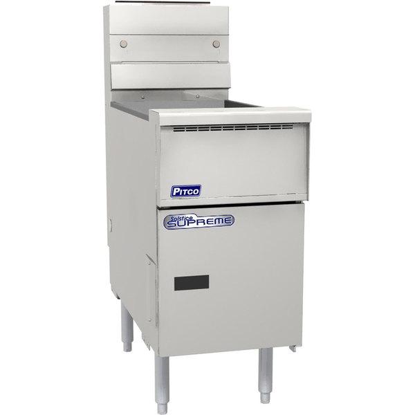 "Pitco® SSH75-VS7 Solofilter Solstice Supreme Natural Gas 75 lb. Floor Fryer with 7"" Touchscreen Controls - 105,000 BTU"