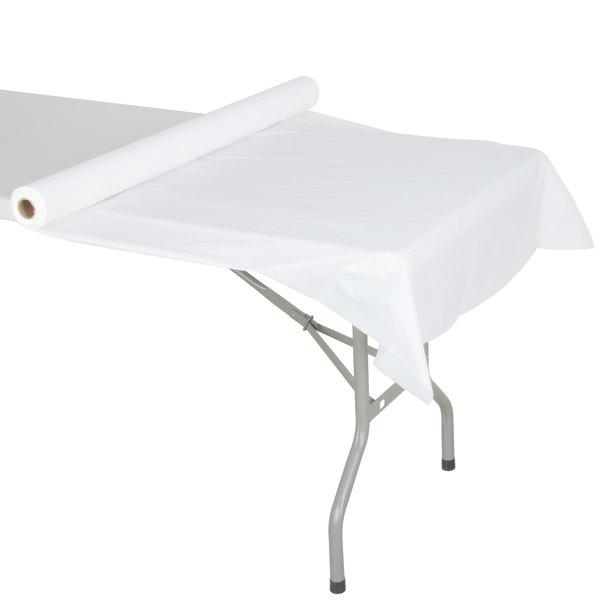 Atlantis Plastics 2TCW300C White Plastic Roll Table Cover - 300' Roll