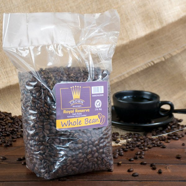 Crown Beverages Royal Reserve Guatemalan Whole Bean Dark Roast Coffee 2 lb. Bag - 5/Case
