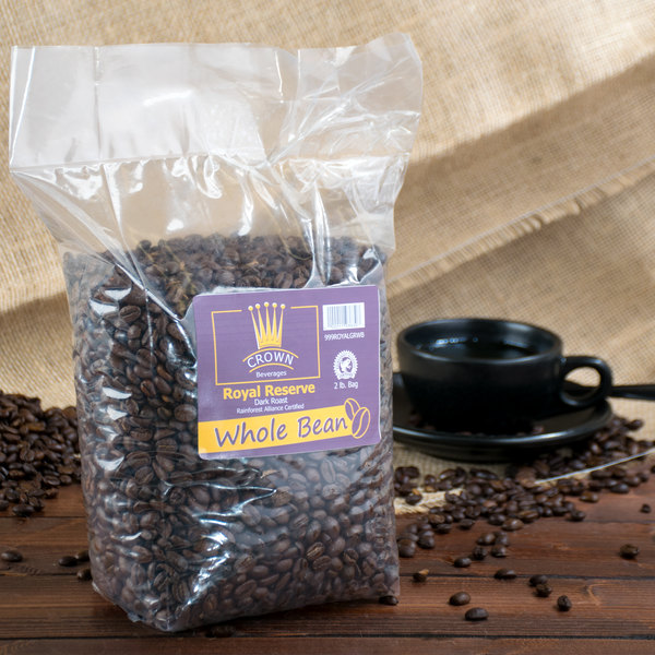 Crown Beverages 2 lb. Royal Reserve Guatemalan Dark Roast Whole Bean Coffee
