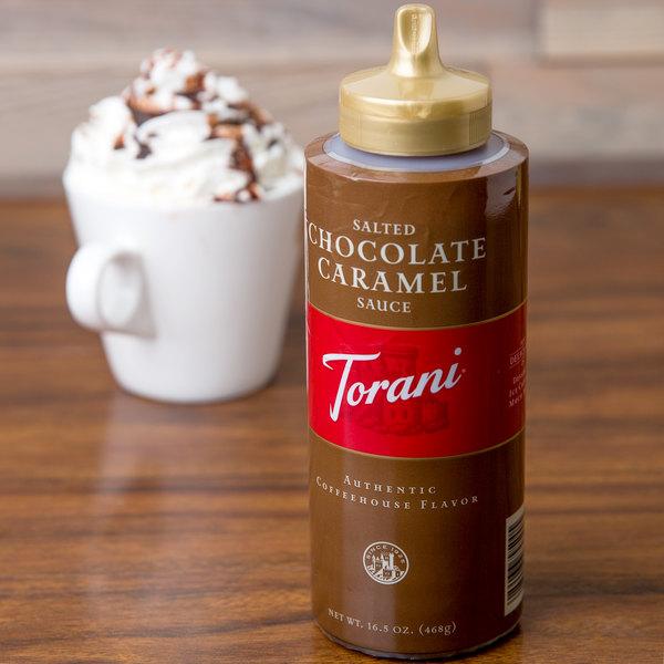 Torani 16.5 oz. Salted Chocolate Caramel Flavoring Sauce