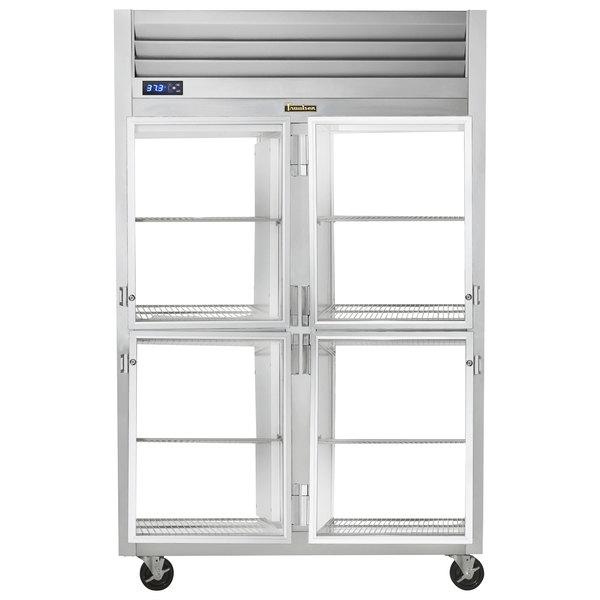 Traulsen G21006P 2 Section Glass Half Door Pass-Through Refrigerator - Right / Left Hinged Doors Main Image 1
