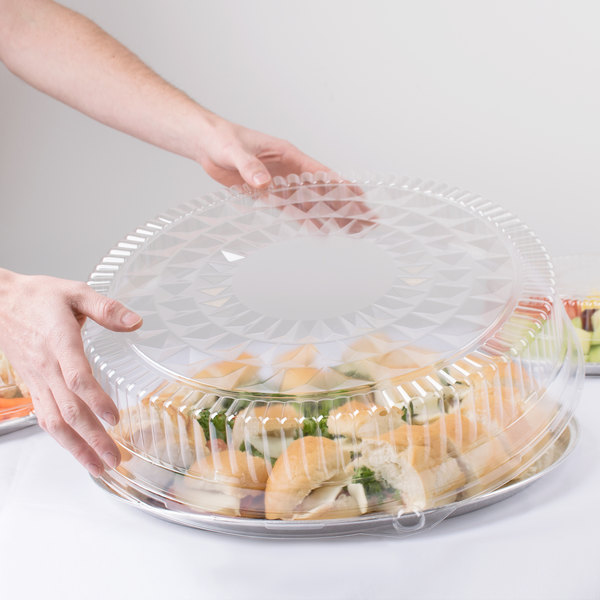 "Durable Packaging 18DL-25 18"" Clear Plastic Round High Dome Lid - 25/Case"