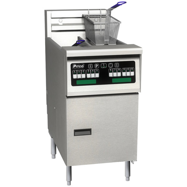 Pitco SELV14T-C/FD Solstice 30 lb. Reduced Oil Volume / High Output Split Pot Electric Fryer with Intellifry Computer Controls and Filter Drawer - 208V, 3 Phase, 17 kW