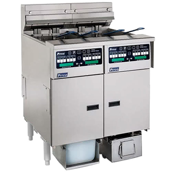 Pitco SELV14C-2/FDP Solstice 60 lb. Reduced Oil Volume / High Output 2 Unit Electric Fryer System with Intellifry Computer Controls and Push Button Top Off - 208V, 3 Phase, 34 kW