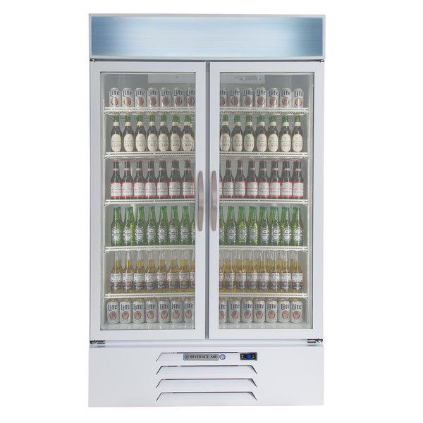 "Beverage-Air MMR44HC-1-W MarketMax 47"" White Two Section Glass Door Merchandiser Refrigerator - 45 cu. ft. Main Image 6"