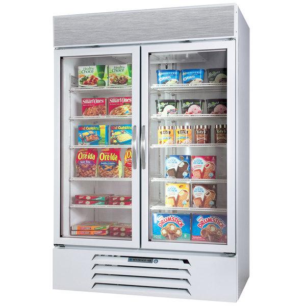 """Beverage-Air MMR44HC-1-W MarketMax 47"""" White Two Section Glass Door Merchandiser Refrigerator - 45 cu. ft."""