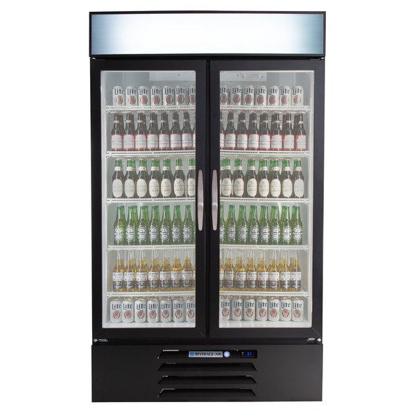 "Beverage-Air MMR44HC-1-B MarketMax 47"" Black Two Section Glass Door Merchandiser Refrigerator - 45 cu. ft."
