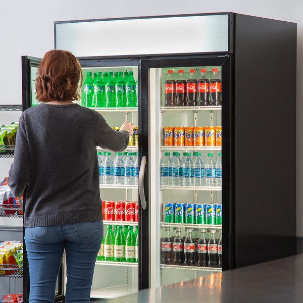 "Beverage-Air MMR44HC-1-B MarketMax 47"" Black Two Section Glass Door Merchandiser Refrigerator - 45 cu. ft. Main Image 6"