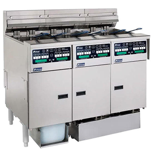 Pitco SELV14C-3/FDP Solstice 90 lb. Reduced Oil Volume / High Output 3 Unit Electric Fryer System with Intellifry Computer Controls and Push Button Top Off - 240V, 3 Phase, 51 kW