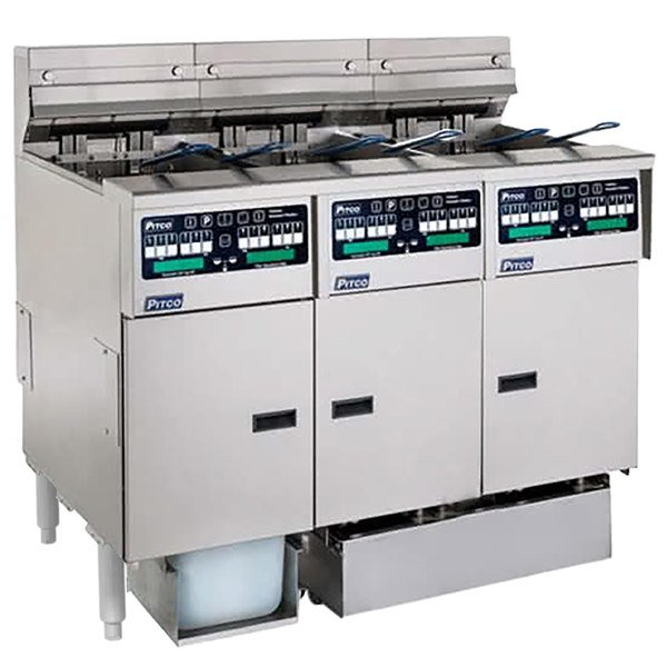 Pitco SELV14C-3/FDP Solstice 90 lb. Reduced Oil Volume / High Output 3 Unit Electric Fryer System with Intellifry Computer Controls and Push Button Top Off - 208V, 3 Phase, 51 kW