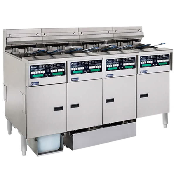 Pitco SELV14C-4/FDP Solstice 120 lb. Reduced Oil Volume / High Output 4 Unit Electric Fryer System with Intellifry Computer Controls and Push Button Top Off - 240V, 1 Phase, 68 kW