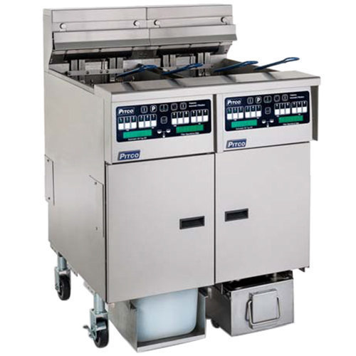 Pitco SELV14TC-2/FDP Solstice 60 lb. Reduced Oil Volume / High Output 2 Unit Split Pot Electric Fryer System with Intellifry Computer Controls and Push Button Top Off - 240V, 1 Phase, 34 kW