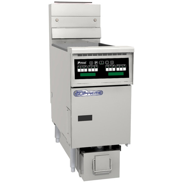 Pitco SSHLV14-C/FD 32 lb. Solstice Supreme Natural Gas Low Volume Oil Fryer with Intellifry Computer Controls and Filter Drawer - 72,500 BTU