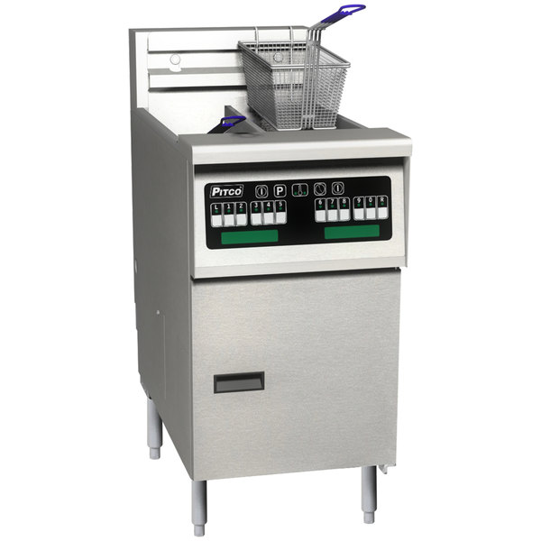 Pitco SELV14T-C/FD Solstice 30 lb. Reduced Oil Volume / High Output Split Pot Electric Fryer with Intellifry Computer Controls and Filter Drawer - 240V, 1 Phase, 17 kW Main Image 1