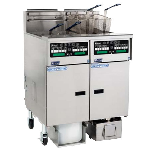 Pitco SSHLV14TC-2/FDA Solstice Natural Gas 64 lb. Reduced Oil Volume / High Output 2 Unit Split Pot Fryer System with Intellifry Computer Controls and Automatic Top Off - 148,000 BTU Main Image 1