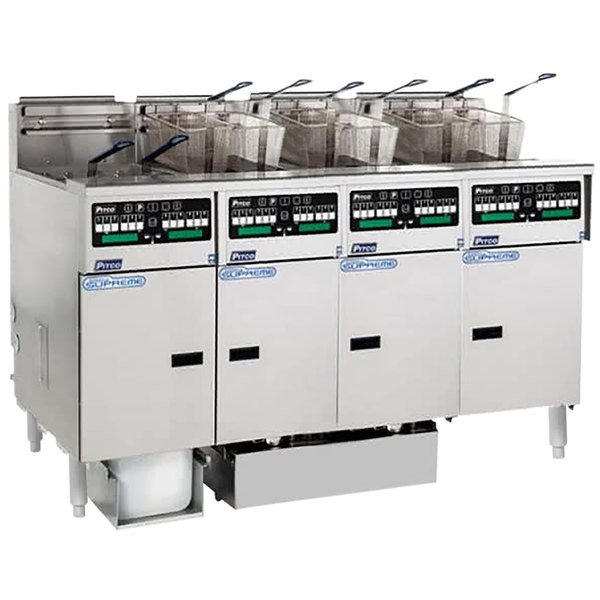 Pitco SSHLV14C-4/FDP Solstice Supreme Natural Gas 128 lb. Reduced Oil Volume / High Output 4 Unit Fryer System with Intellifry Computer Controls and Push Button Top Off - 300,000 BTU Main Image 1