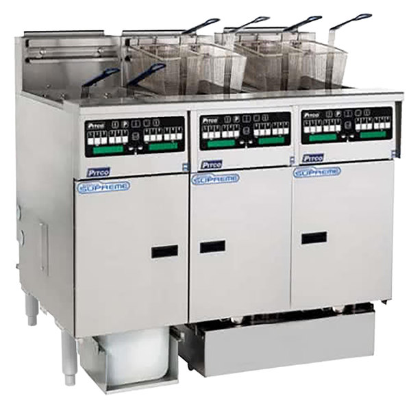 Pitco SSHLV14C-3/FDA Solstice Supreme Natural Gas 96 lb. Reduced Oil Volume / High Output 3 Unit Fryer System with Intellifry Computer Controls and Automatic Top Off - 225,000 BTU