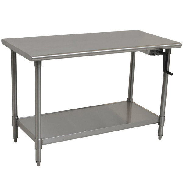 "Eagle Group T2448SEB-HA Right Crank 16 Gauge Type 304 Stainless Steel Adjustable Height ADA / Ergonomic Work Table with Undershelf - 24"" x 48"""