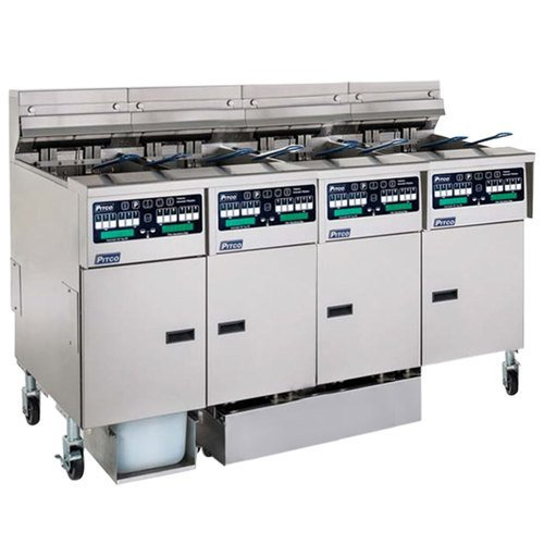 Pitco SSHLV14C2/14T2/FDP Solstice Liquid Propane 128 lb. Reduced Oil VolumeFryer System with 2 Split Pot Units, 2 Full Pot Units, and Push Button Top Off - 298,000 BTU