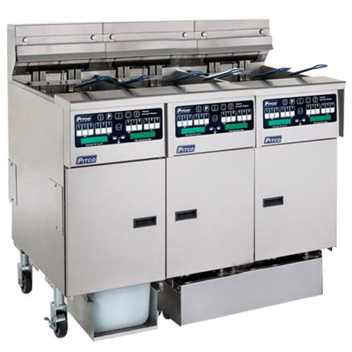 Pitco SSHLV14C/14T-2/FDP Solstice Natural Gas 96 lb. Reduced Oil Volume Electric Fryer System with 2 Split Pot Units, 1 Full Pot Unit, and Push Button Top Off - 223,000 BTU Main Image 1