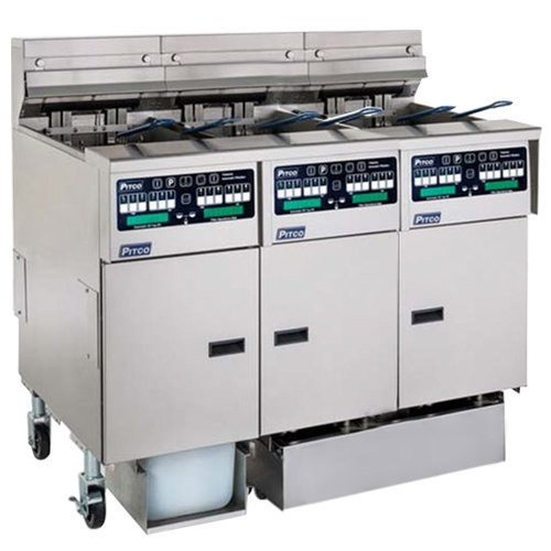 Pitco SSHLV14C-2/14T/FDP Solstice Liquid Propane 96 lb. Reduced Oil Volume Fryer System with 1 Split Pot Unit, 2 Full Pot Units, and Push Button Top Off - 224,000 BTU Main Image 1