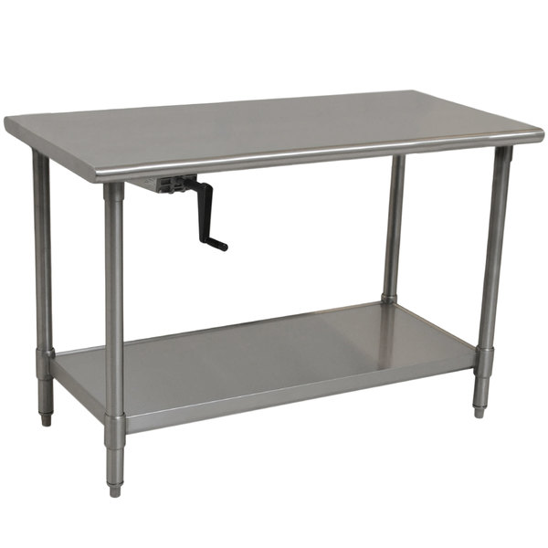 "Eagle Group T2460SEB-HA Left Crank 16 Gauge Type 304 Stainless Steel Adjustable Height ADA / Ergonomic Work Table with Undershelf - 24"" x 60"""
