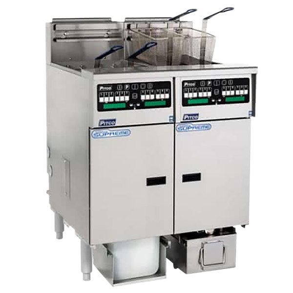 Pitco SSHLV14C-2/FDA Solstice Supreme Liquid Propane 64 lb. Reduced Oil Volume / High Output 2 Unit Fryer System with Intellifry Computer Controls and Automatic Top Off - 150,000 BTU