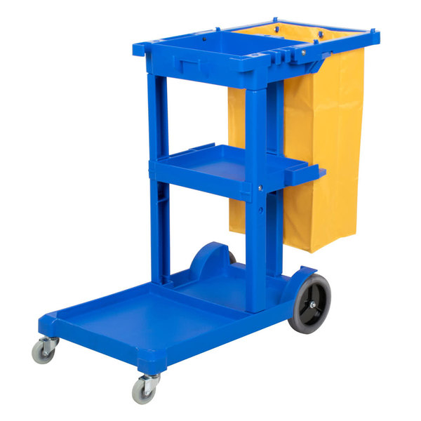 Lavex Janitorial Cleaning Cart / Janitor Cart with 3 Shelves and Vinyl Bag