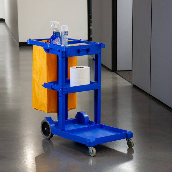 Lavex Janitorial Cleaning Cart / Janitor Cart with 3 Shelves and Vinyl Bag Main Image 3